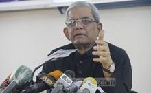 BNP Secretary General Mirza Fakhrul Islam Alamgir speaking at a press conference held at the office of the party's chairperson in Dhaka's Gulshan on Monday, Dec 21, 2020.