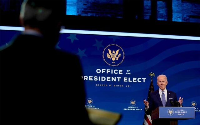 President-elect Joe Biden during a news conference at The Queen Theatre in Wilmington, Del, Dec 22, 2020. The New York Times