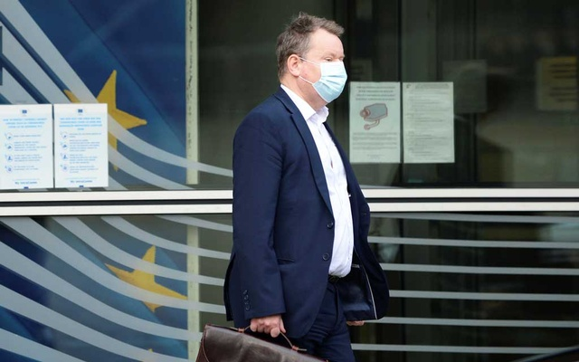 Britain's chief Brexit negotiator David Frost leaves the Berlaymont building after a meeting with EU chief Brexit negotiator Michel Barnier, in Brussels, Belgium, December 20, 2020. Reuters
