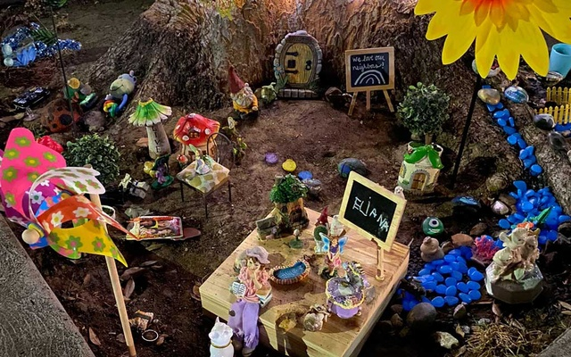 A photo provided by Kelly Kenney shows a fairy garden created by 4-year-old Eliana in early April in Los Angeles. A 4-year-old girl coping with the loneliness of the pandemic created a tiny garden, and kindled an unlikely friendship with an enchanted neighbour who moved into her tree. Kelly Kenney via The New York Times