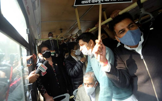 Priyanka Gandhi, a leader of India's main opposition Congress party, is seen on a bus after being detained along with party supporters outside the party headquarters, in New Delhi, India, December 24, 2020. REUTERS