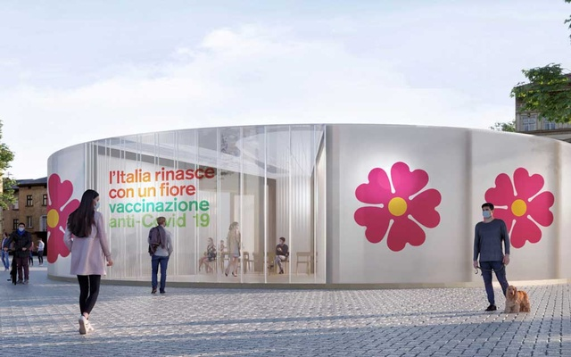 A computer generated image shows a primrose-shaped gazebo for COVID-19 vaccine campaign designed by architect Stefano Boeri in this handout photo released on Dec 13, 2020. REUTERS