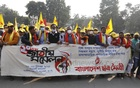Chhatra Maitree took out a procession on the Dhaka University campus on Tuesday, Dec 29, to mark their 20th national council.