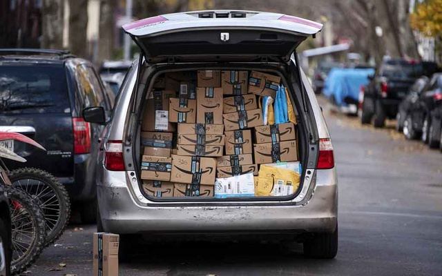Amazon packages out for delivery in New York, Nov 28, 2020. The New York Times