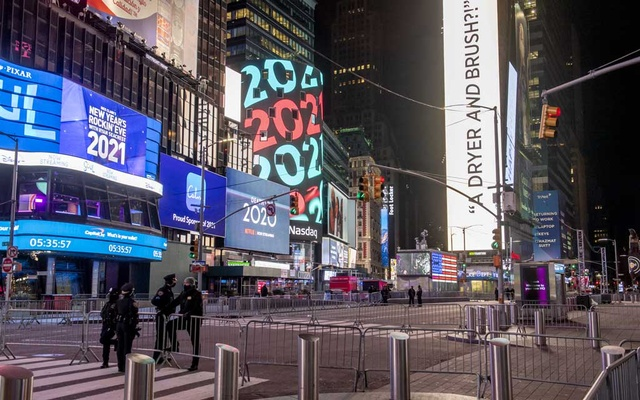 An empty, barricaded Times Square on New Year's Eve in Manhattan, Dec 31, 2020. The New York Times