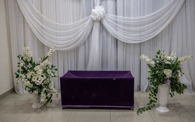 An empty viewing room at the Ebony Funeral Home in Lagos, Nigeria, where social distancing rules are in place for such activities, Dec 8, 2020. The New York Times