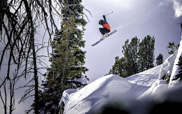 In a photo provided by Teton Gravity Research, Kai Jones in Jackson, Wyo. The New York Times