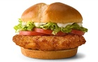 A McDonald's Deluxe Crispy Chicken Sandwich, to be launched in the United States February 24, 2021 is seen in this undated handout photo. McDonald's Corp/Handout via REUTERS