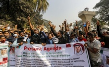 A group of Bangladeshi migrants who work in Qatar demonstrate in front of the Ministry of Foreign Affairs in Dhaka seeking urgent attention of the government to facilitate their return to the Middle East, Jan 5, 2021. Photo: Mahmud Zaman Ovi