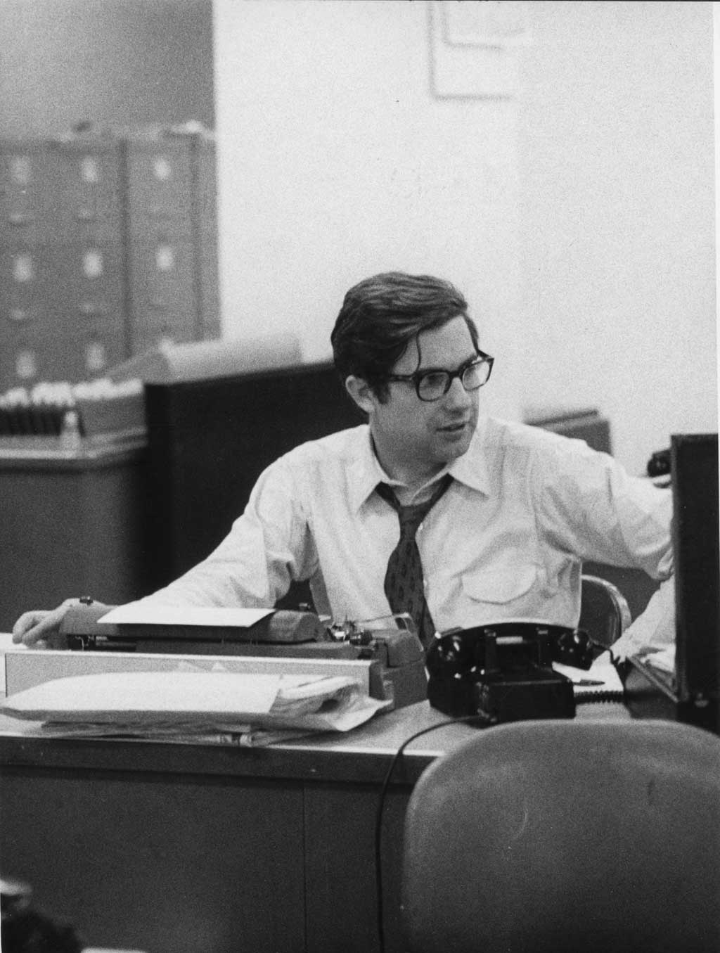Neil Sheehan, the New York Times reporter who broke the Pentagon Papers story, at his desk at the newsroom in Manhattan, May 1, 1972. Neil Sheehan, the Vietnam War correspondent and Pulitzer Prize-winning author who obtained the Pentagon Papers for The New York Times, leading the government for the first time in American history to get a judge to block publication of an article on grounds of national security, died on Thursday, Jan. 7, 2021, at his home in Washington. He was 84. Susan Sheehan, his wife, said the cause was complications of Parkinson's disease. (Barton Silverman/The New York Times)