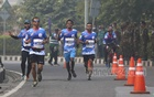 Athletes finish the Bangabandhu Sheikh Mujib Dhaka Marathon on Sunday, Jan 10, 2021.
