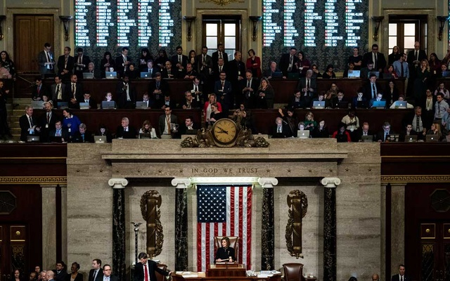 House Speaker Nancy Pelosi (D-Calif) presides as the House of Representatives votes on a second article of impeachment against President Donald Trump at the Capitol in Washington on Wednesday, Dec 18, 2019. The storming of the Capitol has prompted a fresh drive by Democrats to impeach Trump, who egged on the insurrection, for a second time. But there are less than two weeks left in his term. (Erin Schaff/The New York Times)