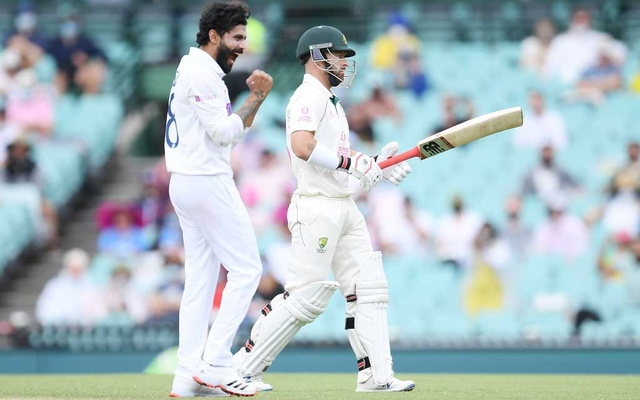 Ravindra Jadeja of India celebrates taking the wicket of Australia's Matthew Wade during day two of the third Test match between Australia and India at the SCG, Sydney, Australia, January 8, 2021.