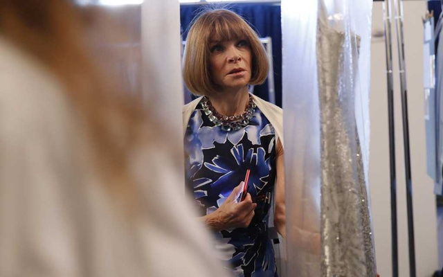 FILE -- Anna Wintour, editor in chief of Vogue, backstage at the Michael Kors fashion show in New York, Sept 13, 2017. Vice President-elect Kamala Harris is on the cover of Vogue — many people are not happy with the result. (Elizabeth Lippman/The New York Times)