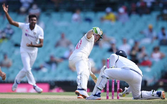 Rishabh Pant of India drops Will Pucovski of Australia during day one of the third Test match between Australia and India at the SCG, Sydney, Australia, January 7, 2021. REUTERS
