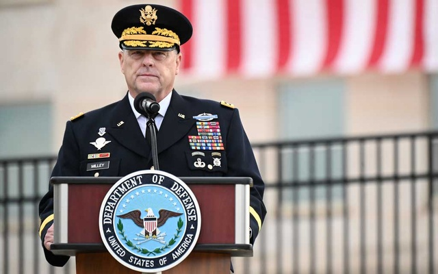 US Chairman of the Joint Chiefs of Staff General Mark Milley gives remarks during the 19th annual September 11 observance ceremony at the Pentagon in Arlington, Virginia, US, September 11, 2020. REUTERS