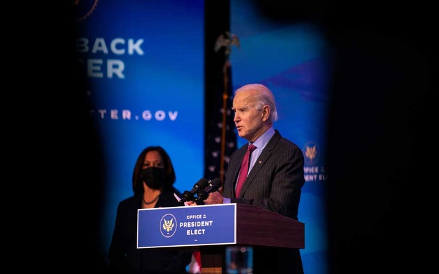 President-elect Joe Biden speaks in Wilmington, Delaware, Jan. 8, 2021.
