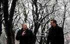 A job seeker speaks with Blake Wittman (R), European Business Director of GoodCall recruitment agency, during a job interview conducted in a park amid the coronavirus disease (COVID-19) restrictions in Prague, Czech Republic, January 7, 2021. REUTERS