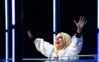 Lady Gaga performs during a drive-in rally for Joe Biden, the Democratic presidential candidate, at Heinz Field in Pittsburg, on Monday, Nov. 2, 2020. (Erin Schaff/The New York Times)