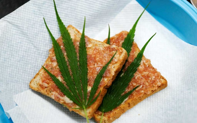 Pork sandwiches with marijuana leafs are seen at Abhaibhubejhr hospital canteen which adds cannabis-infused dishes to its menu after cannabis leaves, stems, stalks and roots were officially removed from Thailand's narcotics list