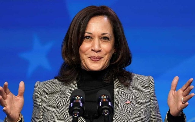 US Vice President-elect Kamala Harris speaks after US President-elect Joe Biden introduced key members of his White House science team at his transition headquarters in Wilmington, Delaware, US, Jan 16, 2021 REUTERS