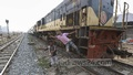 Two children jumping off a running train risking their lives between Airport Railway Station and Tejgaon Railway Station. Photo: Asif Mahmud Ove