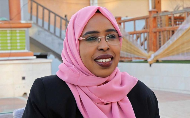 Somali lawmaker Amina Mohamed Abdi speaks during a Reuters interview in Mogadishu, Somalia January 9, 2021. REUTERS