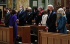 President-elect Joe Biden, his wife Jill Biden, Vice President-elect Kamala Harris and her husband Doug Emhoff attend a church service before his presidential inauguration, at St Matthews Catholic Church in Washington, US, Jan 20, 2021. REUTERS