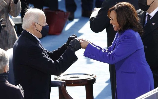 President-elect Joe Biden and Vice President Kamala Harris during the inauguration of Joe Biden as the 46th President of the United States on the West Front of the US Capitol in Washington, US, January 20, 2021. Reuters