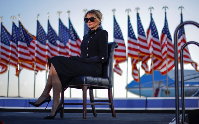 First lady Melania Trump sits as US President Donald Trump speaks at the Joint Base Andrews, Maryland, US, January 20, 2021. Reuters