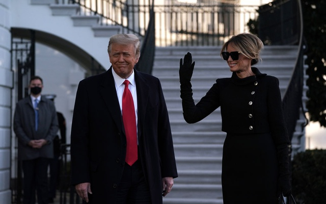 President Donald Trump and first lady Melania Trump depart the White House on Wednesday morning, Jan. 20, 2021, hours before the presidential inauguration of Joe Biden. (Anna Moneymaker/The New York Times)