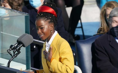 Amanda Gorman, who at 22 is the youngest inaugural poet in US history, reads her poem during the ceremony at the Capitol in Washington, Jan 20, 2021