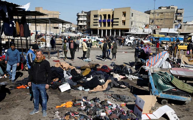 The site of a twin suicide bombing attack in a central market is seen in Baghdad, Iraq Jan 21, 2021. REUTERS
