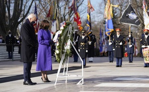 President Joe Biden and Vice President Kamala Harris participate in a wreath laying ceremony at the Tomb of the Unknown Soldier at Arlington National Cemetery in Arlington, Va., on Wednesday, Jan. 20, 2021. (Doug Mills/The New York Times)