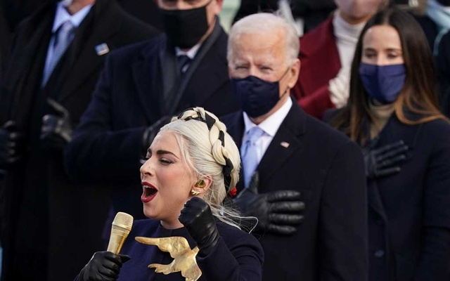 Lady Gaga sings the National Anthem during the inauguration of Joe Biden as the 46th President of the United States on the West Front of the US Capitol in Washington, US, January 20, 2021. Reuters