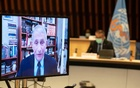 Dr Anthony Fauci, director of the National Institute of Allergy and Infectious Diseases speaks via video link during the 148th session of the Executive Board on the coronavirus disease (COVID-19) outbreak in Geneva, Switzerland, January 21, 2021. REUTERS
