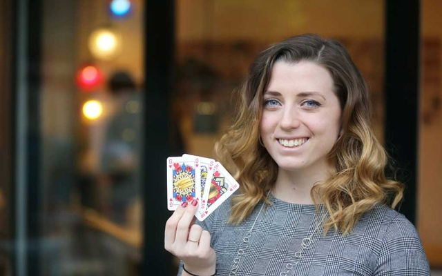 Indy Mellink, designer of genderless playing cards, poses in Oegstgeest, Leiden , Netherlands January 15, 2021. Picture taken January 15, 2021. REUTERS