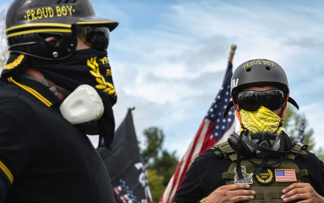 A rally by the far-right group the Proud Boys at Delta Park in Portland, Ore, Sept 26, 2020. In dozens of conversations on social media sites like Gab and Telegram, there are signs of fraying support by members of the group for former President Donald Trump. Diana Zeyneb Alhindawi/The New York Times