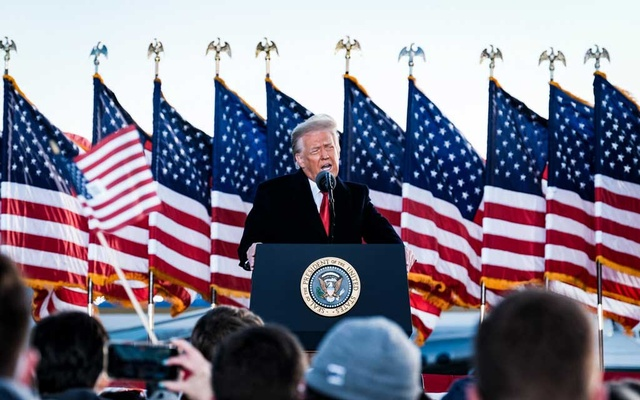 The former president addressing supporters on Wednesday. His administration's final acts toward China created challenges for the next phase of US foreign policy. Credit...Pete Marovich for The New York Times.