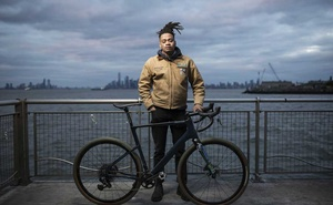 John Shackleford stands on the American Veterans Memorial Pier in Brooklyn, Jan 17, 2021. Shackleford's next mission-driven trip is travelling cross-country by bus to distribute free bikes to people of colour. Karsten Moran/The New York Times