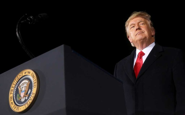 US President Donald Trump addresses a campaign rally in Dalton, Georgia, US, on the eve of the run-off election to decide both of Georgia's Senate seats January 4, 2021. Reuters