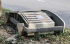 A run-down and displaced dustbin lies on a pavement in Hatirjheel due to a lack of maintenance by the authorities. Photo: Asif Mahmud Ove