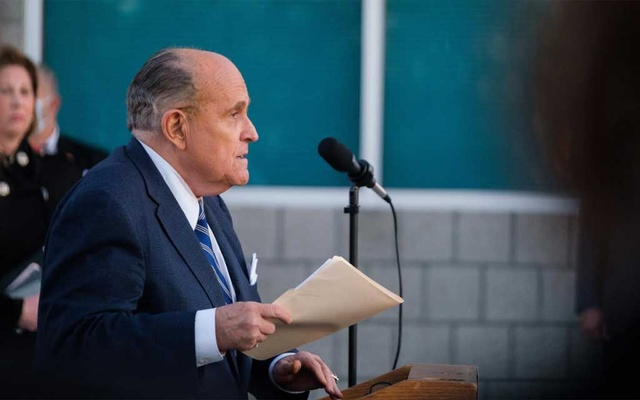 Rudy Giuliani, a lawyer for then President Donald Trump who pushed to overturn the election results, announces in Philadelphia on Nov 4, 2020, that the Trump campaign will be filing lawsuits in Pennsylvania. The New York Times
