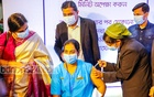Runu Veronica Costa, a nurse of the Kurmitola General Hospital in Dhaka, received the first COVID-19 vaccine shot in Bangladesh as part of the country's mass immunisation campaign on Wednesday, Jan 27, 2021.