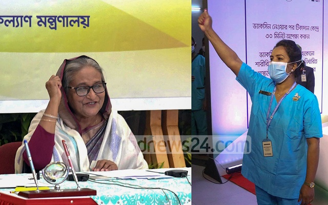 'Joy Bangla!' exclaimed Runu Veronica Costa, a nurse of the Kurmitola General Hospital in Dhaka, after receiving the first COVID-19 vaccine shot in Bangladesh as part of the country's mass immunisation campaign on Wednesday, Jan 27, 2021.