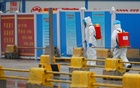 Workers in PPE spray the ground with diinfectant in Baishazhou market during a visit of World Health Organisation (WHO) team tasked with investigating the origins of the coronavirus (COVID-19) pandemic, in Wuhan, Hubei province, China, Jan 31, 2021. REUTERS
