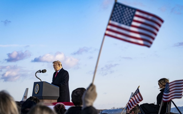 Then-President Donald Trump speaks to supporters at Joint Base Andrews in Maryland before boarding Air Force One for the last time as president on Inauguration Day, Jan. 20, 2021. The House impeachment managers on Thursday, Feb. 4, 2021, called on Trump to testify before or during his Senate trial next week, making an unexpected attempt to question the former president under oath about his actions on Jan. 6, when he is accused of inciting a mob attack at the Capitol. (Pete Marovich/The New York Times)