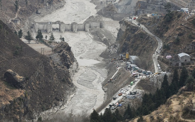General view of the place where members of National Disaster Response Force (NDRF) conduct a rescue operation, after a part of a glacier broke away, in Tapovan in the northern state of Uttarakhand, India, Feb 10, 2021. REUTERS