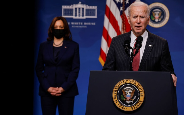 President Joe Biden delivers remarks on the political situation in Myanmar at the White House in Washington, US, February 10, 2021. REUTERS