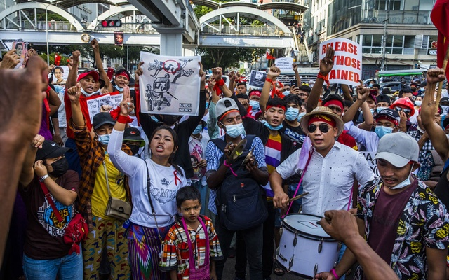 People protest the recent military coup, in Yangon, Myanmar, on Friday, Feb. 12, 2021. The military seized power in a coup on Feb. 1, and detained the country's elected civilian leaders. (The New York Times)